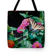 Swallowtail Among The Zinnias Tote Bag