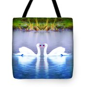 Swan Love Tote Bag by Bill Cannon
