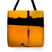 Swan Sunset At The Light Tote Bag