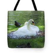 Swans In Nest Tote Bag