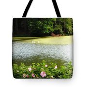 Swans On Pond And Hibiscus With Oil Painting Effect Tote Bag