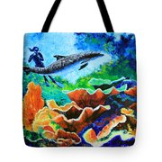 Swimming With The Dolphins Tote Bag