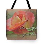Sympathy Greeting Card - Peach Rose Tote Bag