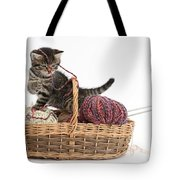 Tabby Kitten Playing With Knitting Wool Tote Bag
