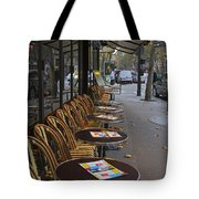 Tables Outside A Paris Bistro On An Autumn Day Tote Bag