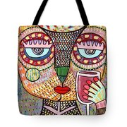 Talavera Feather Owl Drinking Red Wine S Tote Bag