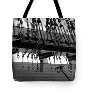 Tall Ship Canons Black And White Tote Bag