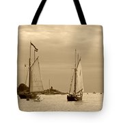 Tall Ships Sailing In Sepia Tote Bag