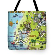 Tampa Florida Cartoon Map Tote Bag