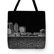 Tampa Panorama Digital - Black And White Tote Bag
