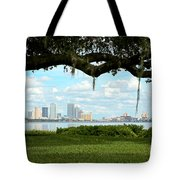 Tampa Skyline Through Old Oak Tote Bag