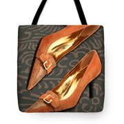 Tan Ostrich With Golden Buckles Tote Bag