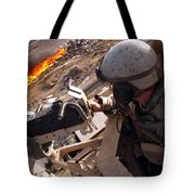 Tank Commander Scans The Trash Covered Tote Bag by Stocktrek Images