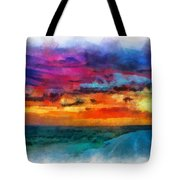 Taos Sunset Iv Watercolor Tote Bag