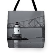 Tarrytown Lighthouse And Tappan Zee Bridge Viii Tote Bag by Clarence Holmes