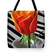 Tea Rose In Striped Vase Tote Bag