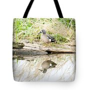 Teal Duck Standing On A Log Tote Bag