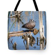 Teal Standing On One Leg Tote Bag