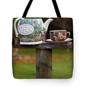 Teapot And Tea Cup On Old Post Tote Bag by Garry Gay