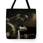 Telescope And Red Moon Tote Bag