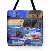 Painting Tenby Harbour With Boats Tote Bag