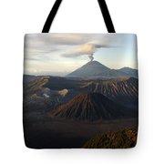 Tengger Caldera With Erupting Mount Tote Bag