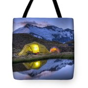 Tents Lit By Flashlight On Cascade Tote Bag