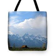 Teton Mountains And Barn Tote Bag