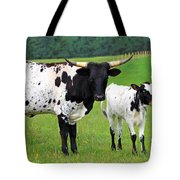 Texas Longhorn Cow And Calf Tote Bag