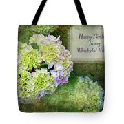 Textured Hydrangeas Birthday Mother Greeting Card Tote Bag