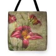 Textured Red Daylilies Tote Bag