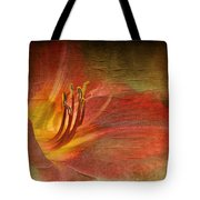 Textured Red Daylily Tote Bag