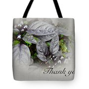 Thank You Card - Silver Leaves And Berries Tote Bag