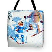 The Aerial Skier - 6 Tote Bag by Hanne Lore Koehler