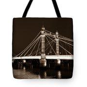 The Albert Bridge London Sepia Toned Tote Bag