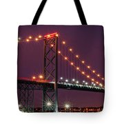 The Ambassador Bridge At Night - Usa To Canada Tote Bag by Gordon Dean II