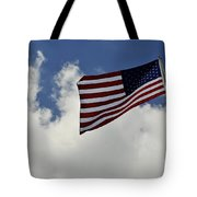 The American Flag Blowing In The Breeze Tote Bag