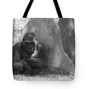 The Angry Ape In Black And White Tote Bag
