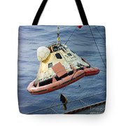 The Apollo 8 Capsule Being Hoisted Tote Bag