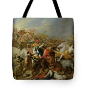 The Battle Between The Amazons And The Greeks Tote Bag