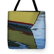 The Bow Of An Anchored, Striped Boat Tote Bag