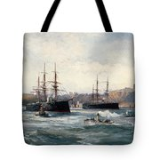 The Channel Fleet Off Scarborough Tote Bag
