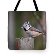 The Crested Tit Having Lunch Tote Bag