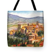The Fortified Walled Village Of Gualdo Cattaneo Umbria Italy Tote Bag