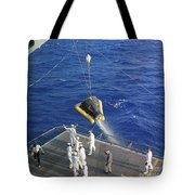 The Gemini-3 Spacecraft Is Hoisted Tote Bag