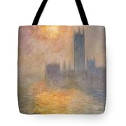 The Houses Of Parliament At Sunset Tote Bag by Claude Monet