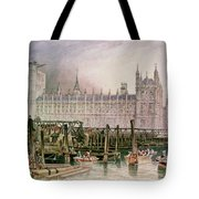 The Houses Of Parliament In Course Of Erection Tote Bag