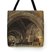 The Interior Of The Lower Basilica Of St. Francis Of Assisi Tote Bag by Thomas Hartley Cromek