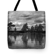 The Island In The Midlle In Bw Tote Bag
