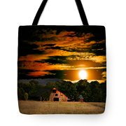 The Late Sam's Rd. Barn In The Moonlight Tote Bag